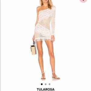 White crochet one shoulder dress